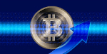 Silver Bitcoin with blue arrow