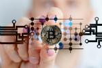 Virtual Bitcoin on clear glass